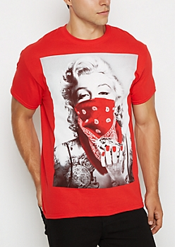 Red Marilyn Monroe Diamond Tee