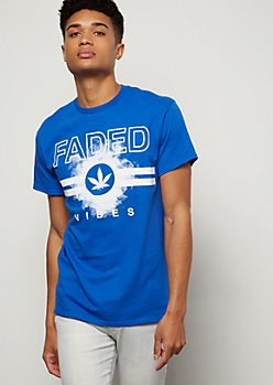Royal Blue Faded Weed Print Graphic Tee