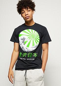 Black Neon Kanji Wave Graphic Tee
