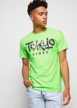 Neon Green Tokyo Vibes Graphic Tee