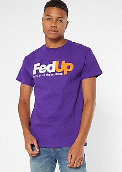 Purple Fed Up Crew Neck Graphic Tee
