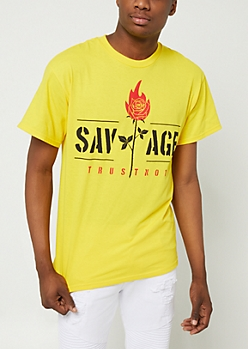 Yellow Flame Rose Savage Tee