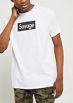 White Graphic Savage Tee