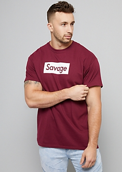 Burgundy Graphic Savage Tee