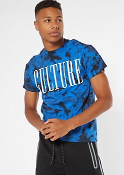 Blue Tie Dye Culture Graphic Tee