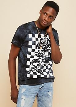 Black Tie Dye Checkered Rose Tee