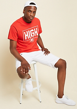 Red Weed Print High Graphic Tee