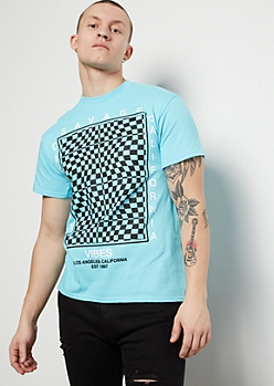 Blue Illusion Checkered Print Cali Vibes Graphic Tee