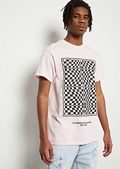 Pink Illusion Checkered Print Cali Vibes Graphic Tee