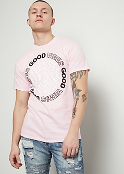 Pink Good Vibes Checkered Print Graphic Tee