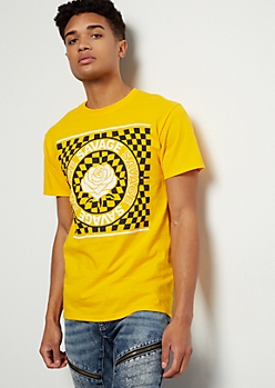 Mustard Checkered Print Savage Emblem Graphic Tee
