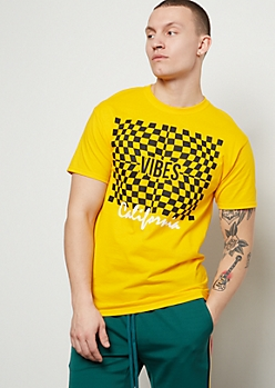 Mustard Cali Vibes Illusion Checkered Print Graphic Tee