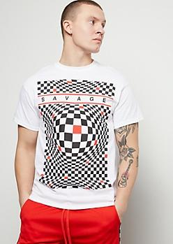 White Illusion Checkered Print Savage Graphic Tee