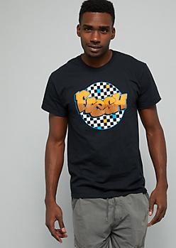 Black Checkered Print Orange Fresh Graffiti Graphic Tee