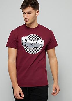Burgundy Checkered Print Fresh Graffiti Graphic Tee
