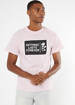 Pink Nothing Lasts Rose Print Graphic Tee