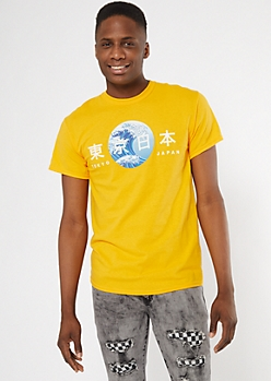 Yellow Kanji Wave Reflector Graphic Tee
