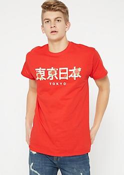Red Tokyo Kanji Rose Graphic Tee
