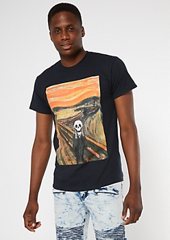 Black Skeleton Scream Graphic Tee