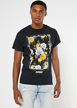 Black Drip Rose Graphic Tee