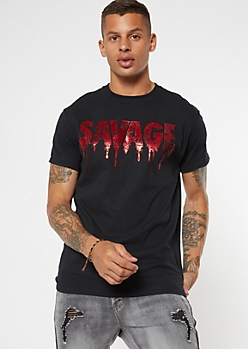 Black Foil Savage Graphic Tee