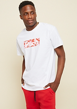 White Stacks Camo Print Box Tee