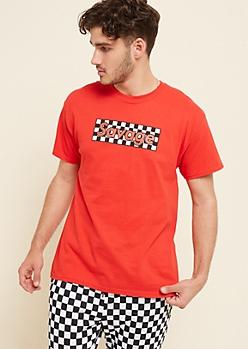 Red Checkered Savage Box Tee