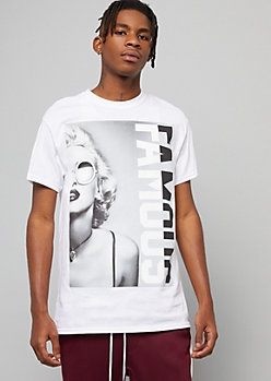 White Famous Marilyn Monroe Graphic Tee