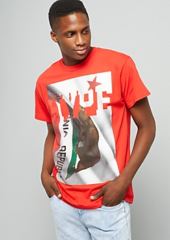 Red Hype California Flag Print Graphic Tee