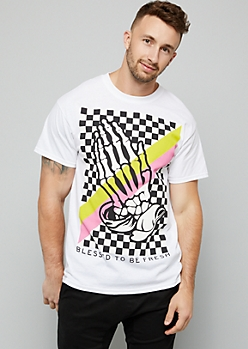 White Checkerboard Pattern Blessed Graphic Tee