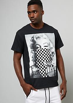 Black Checkered Print Marilyn Monroe Tee