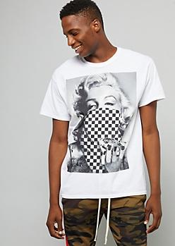 White Checkered Print Marilyn Monroe Tee