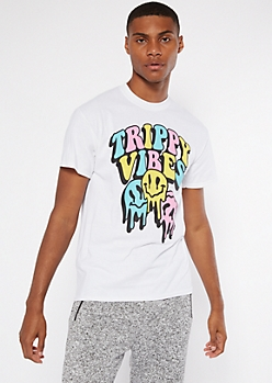 White Trippy Vibes Smiley Face Graphic Tee