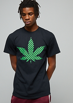 Black Striped Weed Print Crew Neck Graphic Tee