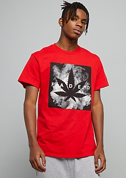 Red Smoky Faded Weed Print Graphic Tee