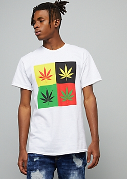 White Weed Print Pop Art Crew Neck Graphic Tee