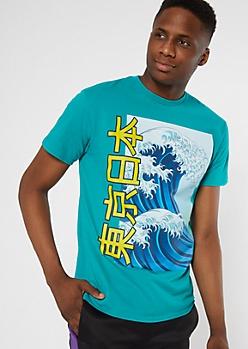 Teal Kanji Box Wave Graphic Tee