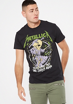 Black Skeleton Metallica Graphic Tee