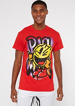 Red Airbrush PacMan Graphic Tee