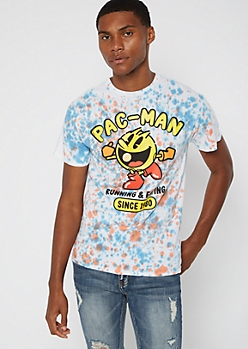White Tie Dye Pac-Man Graphic Tee