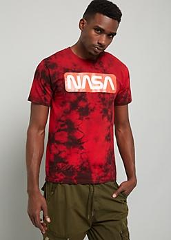 Red Tie Dye NASA Logo Crew Neck Graphic Tee
