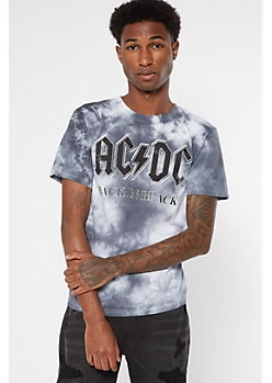 Tie Dye ACDC Back In Black Graphic Tee
