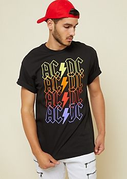 Black Repeated ACDC Tee