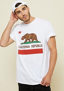 White California Bear Graphic Tee