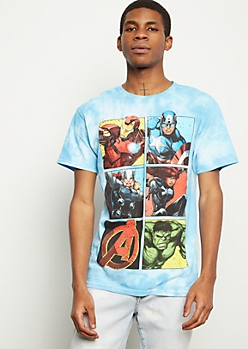Blue Tie Dye Avengers Comic Graphic Tee