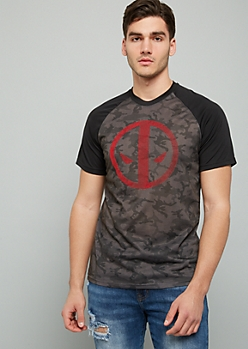 Black Camo Print Deadpool Raglan Crew Neck Graphic Tee