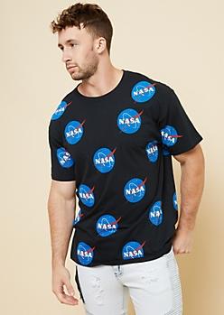 Black Repeating NASA Logo Graphic Tee