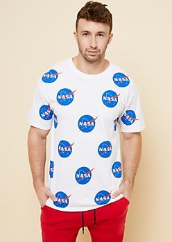 White Repeating NASA Logo Graphic Tee