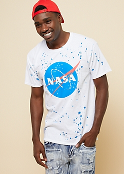 White Splatter Paint NASA Logo Graphic Tee