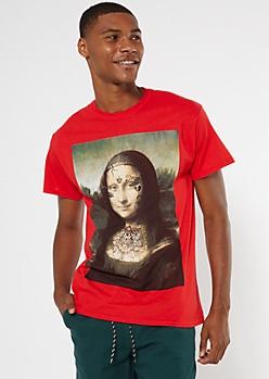 Red Tattoo Mona Lisa Graphic Tee